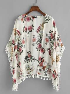 Tassel Detail Floral Kimono