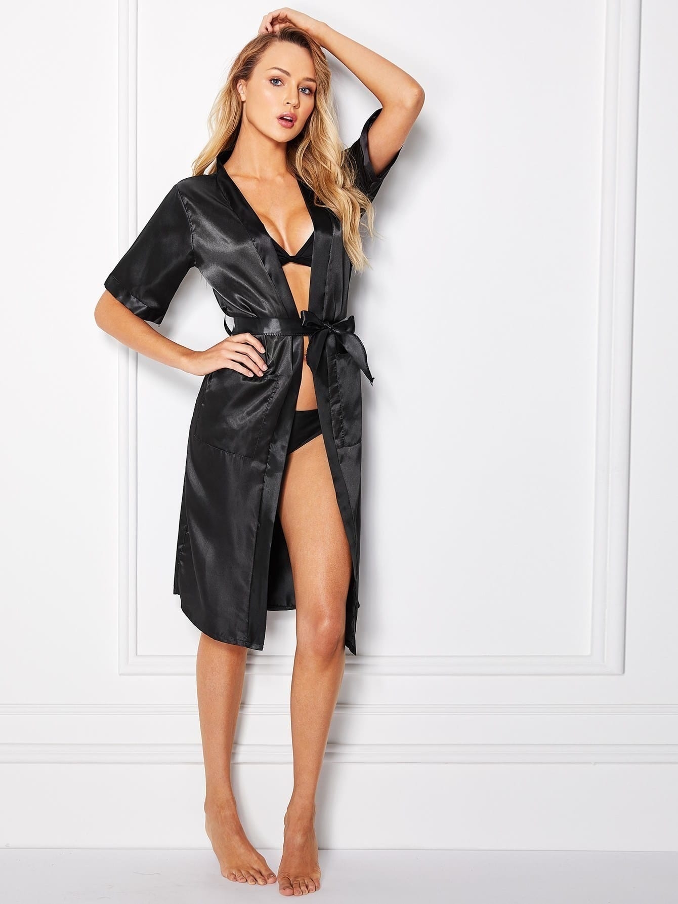 Self Tie Satin Robe With Panty self tie satin robe with panty