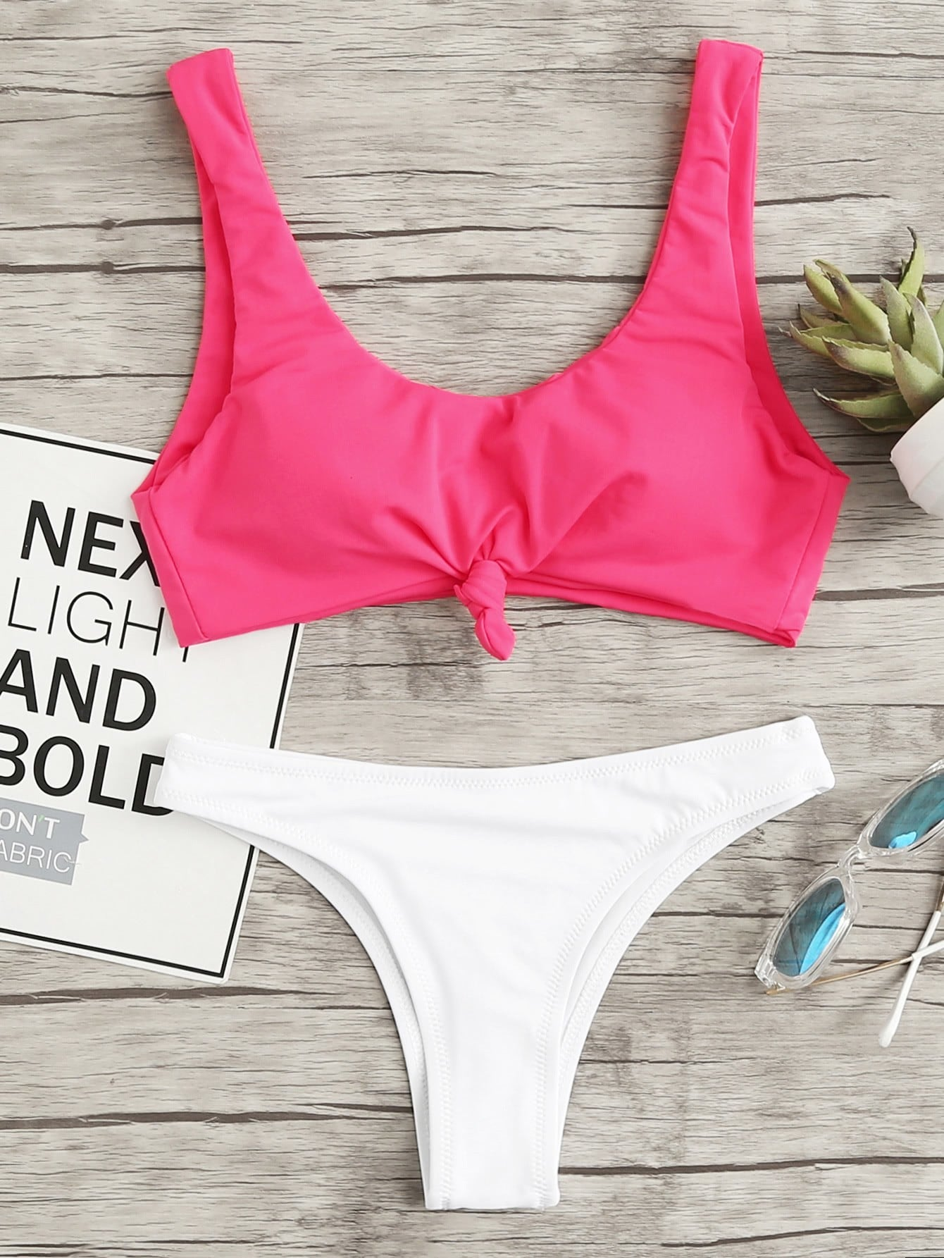 Two Tone Knot Front Bikini Set knot front fit
