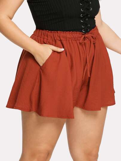 Drawstring Waist Loose Shorts