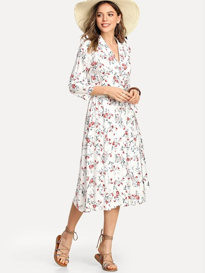 Notch Collar Floral Wrap Dress