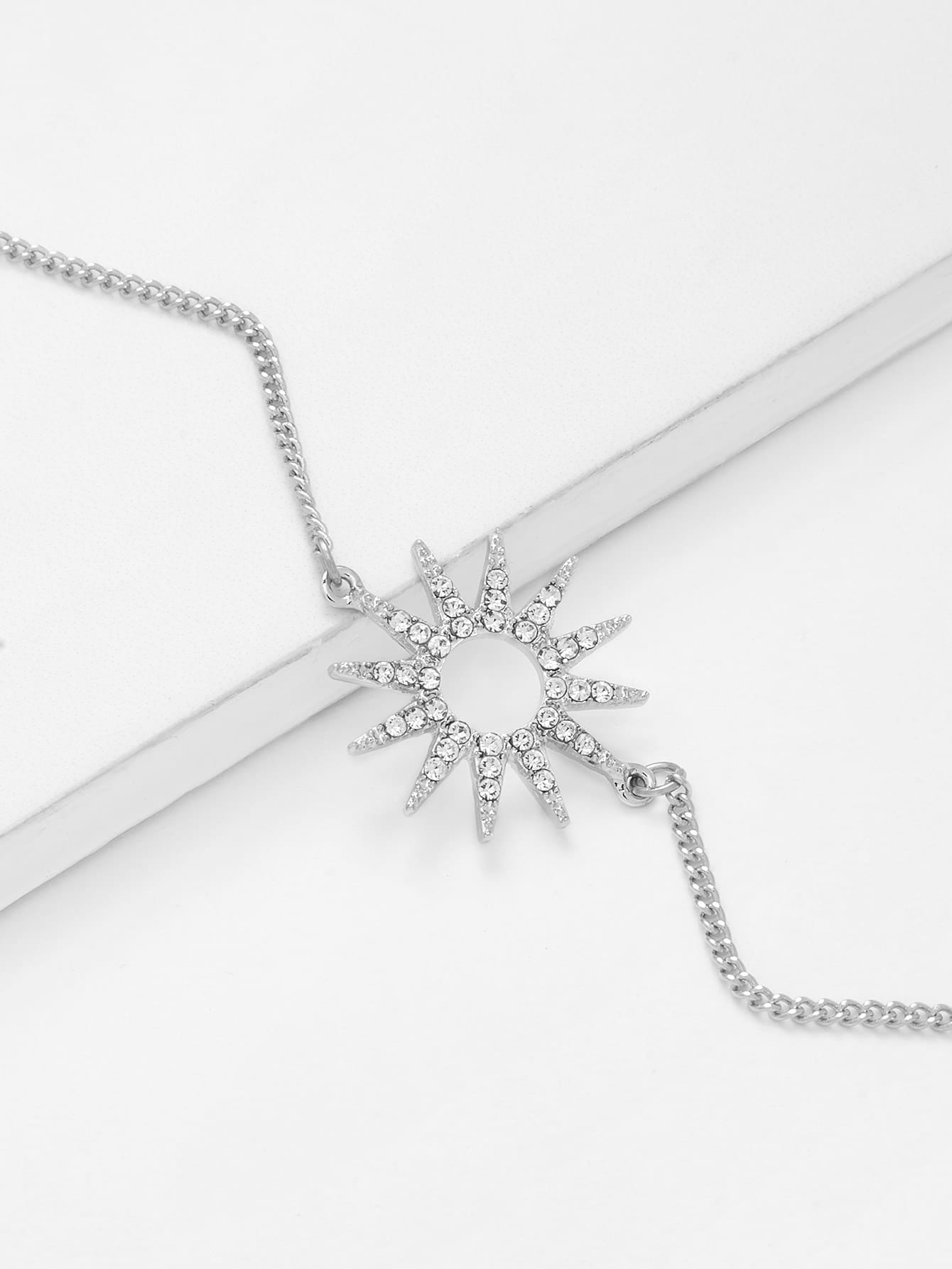 Rhinestone Detail Sun God Charm Chain Bracelet