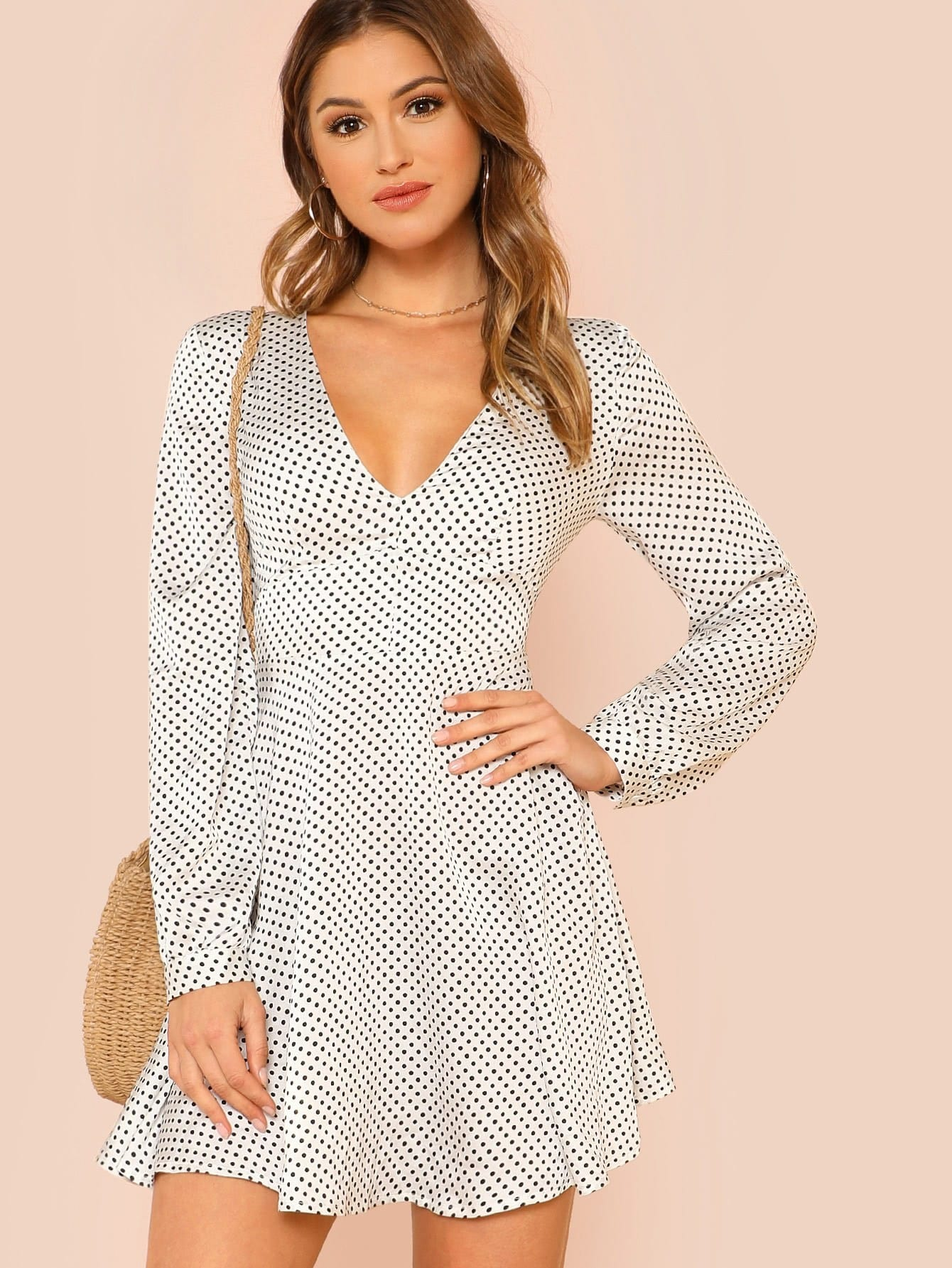 Knot Back Fit & Flare Polka Dot Dress zip back fit and flare splicing dress