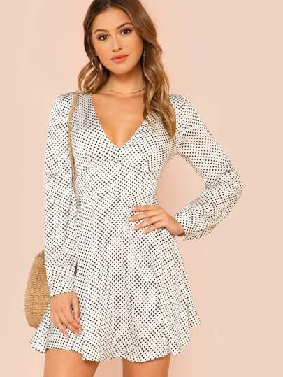 Knot Back Fit & Flare Polka Dot Dress