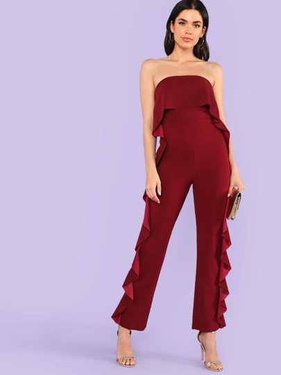 Ruffle Trim Fold Over Strapless Jumpsuit