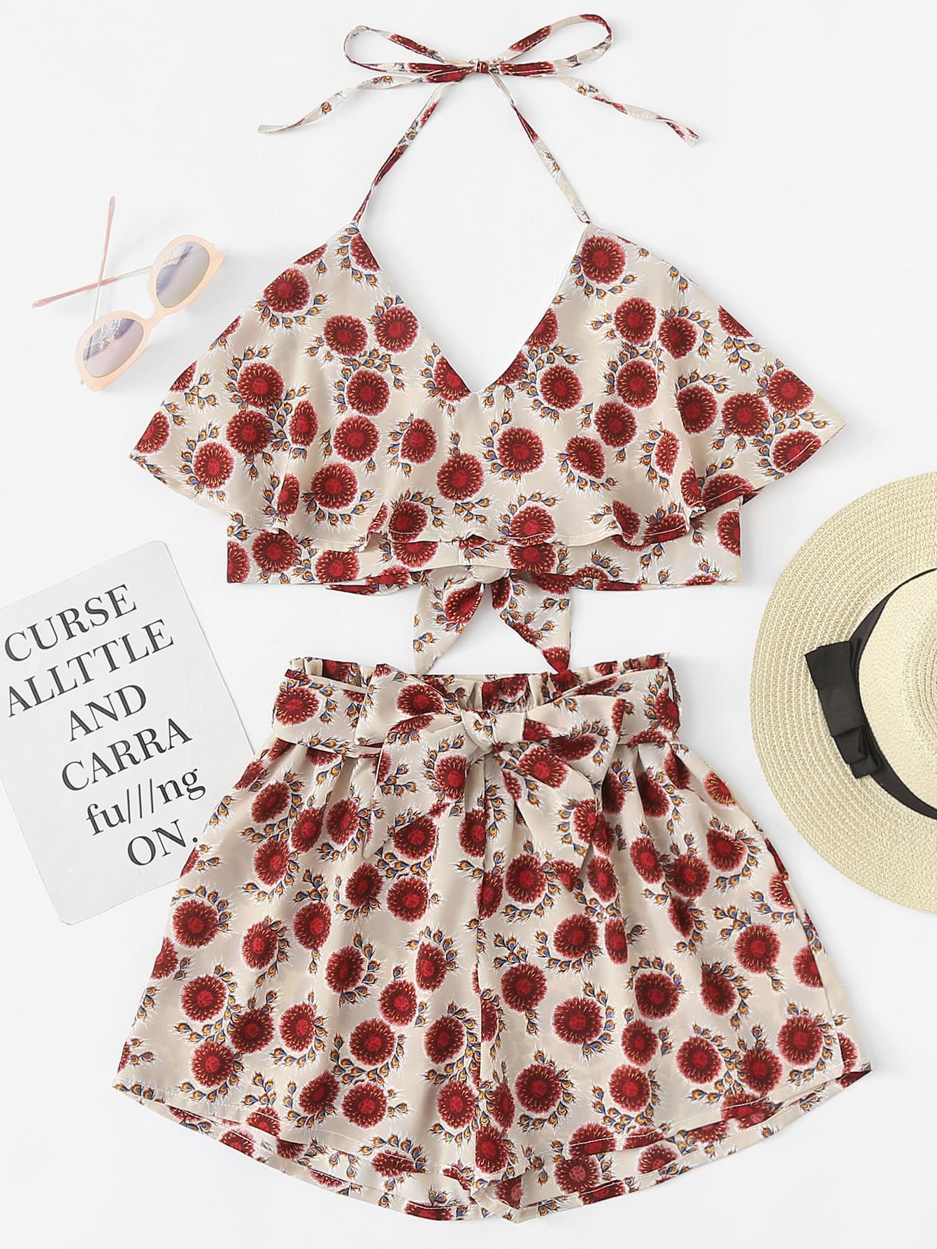 Tiered Floral Print Halter Top With Shorts