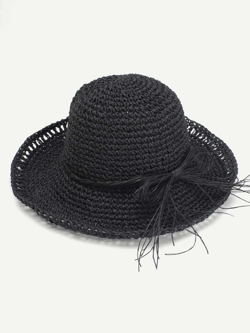Bow Band Straw Boater Hat, Black