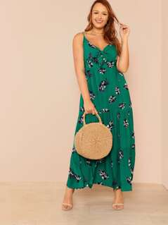 Leaf Print Front Tie Knot Maxi Dress with Shirred Waist Detail GREEN