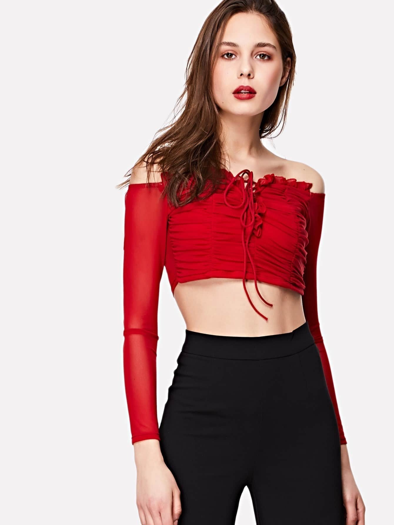 Lace Up Front Frill Detail Crop Bardot Top frill detail crochet insert embroidered mesh top