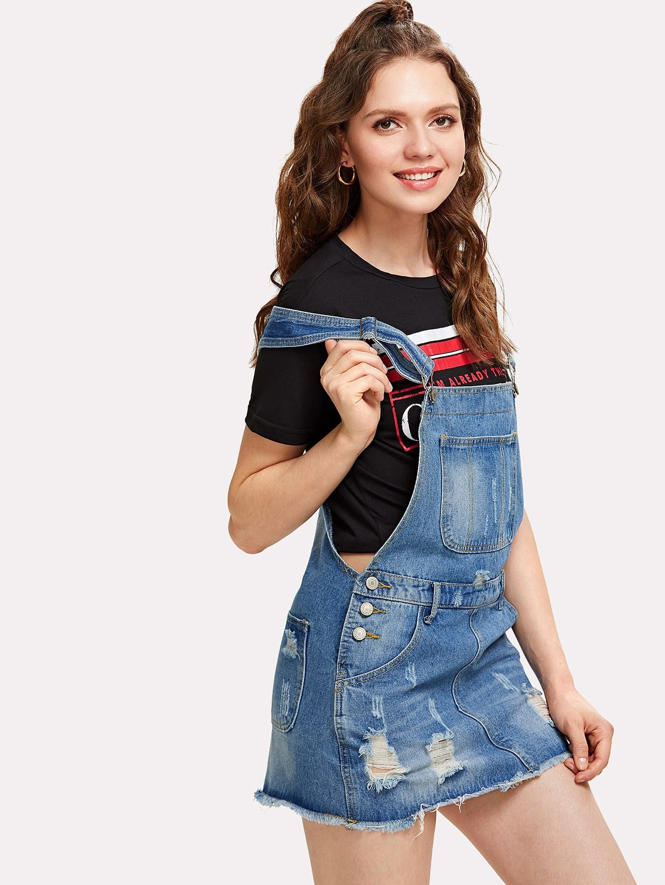 Pocket Front Ripped Overall Denim Dress ripped overall denim dress