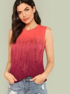 Ombre Cut Out Top with Fringe CORAL