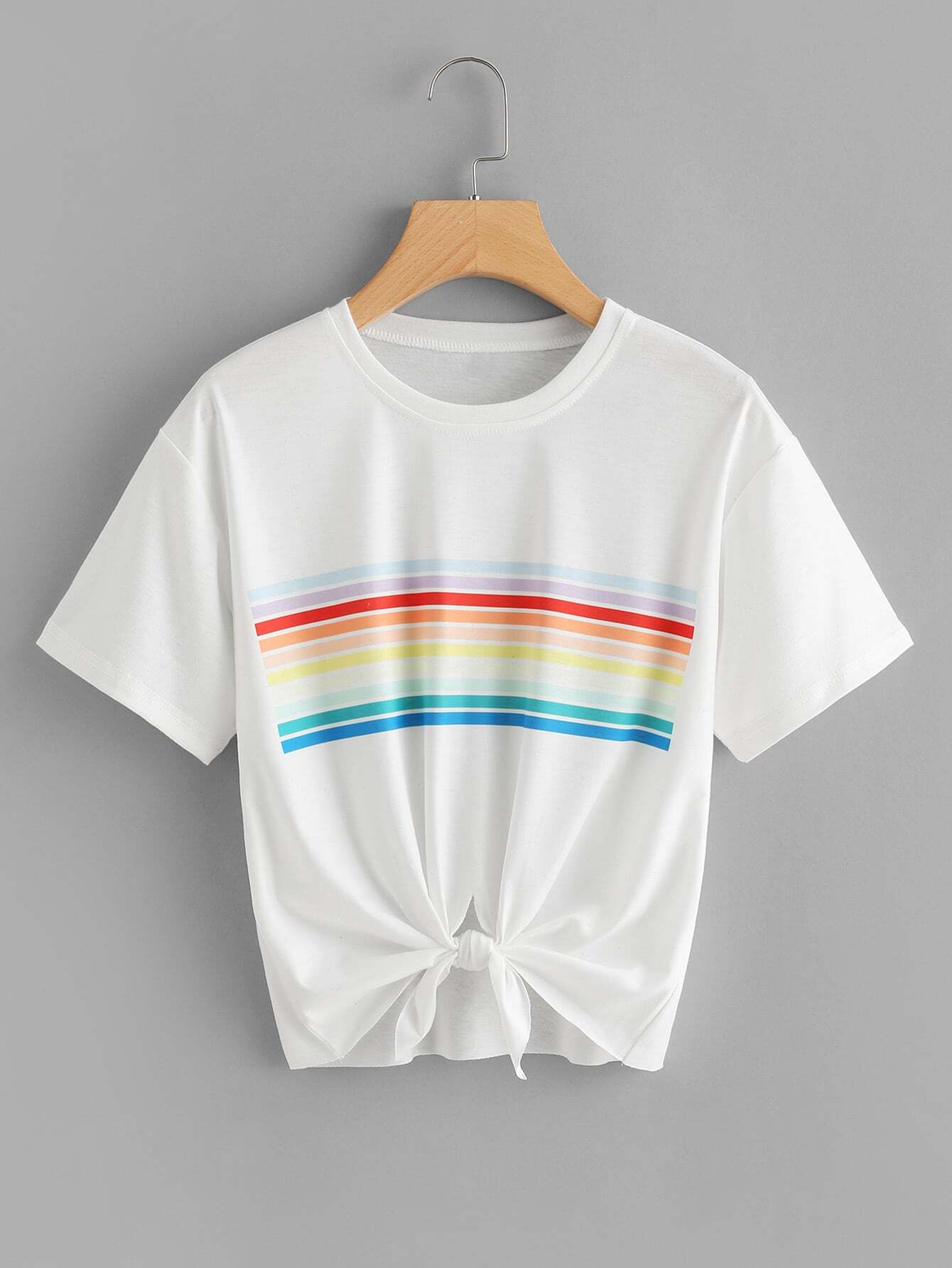 Colorful Striped Knot Front Tee