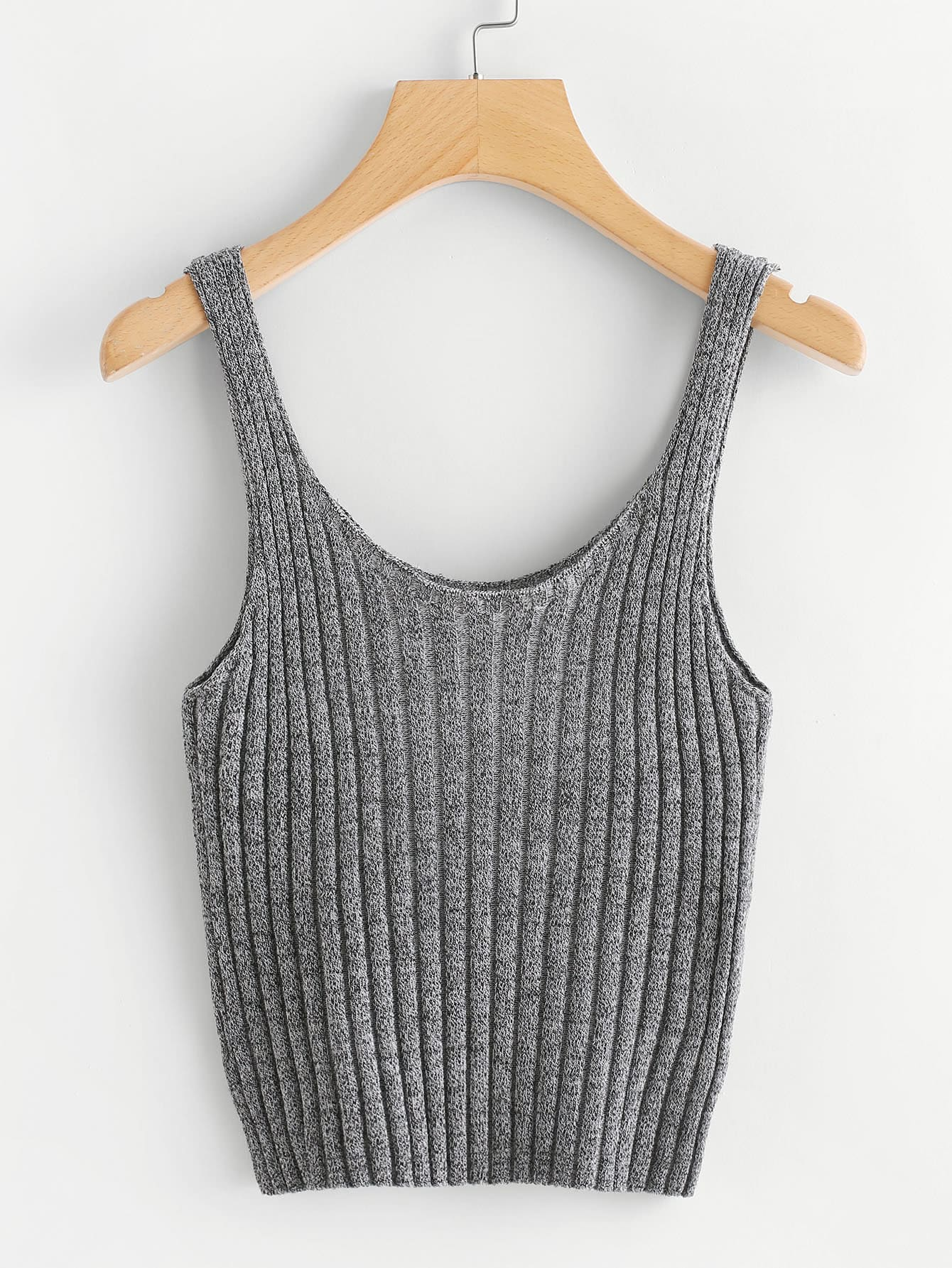 Ribbed Tank Crop Top knot front crop ribbed tank top
