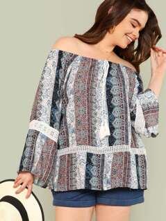 Plus Bardot Boho Print Top with Lace Detail MAUVE NAVY
