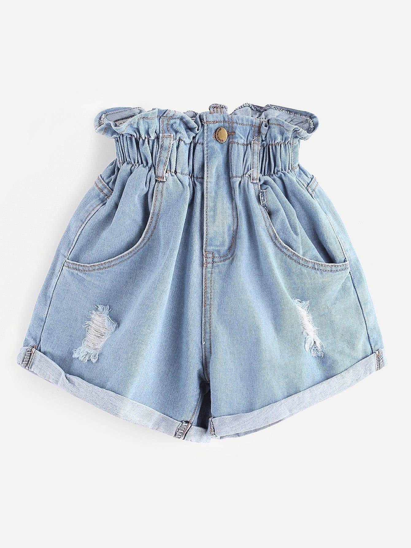 Elastic Waist Ripped Denim Skirt elastic waist button denim dress