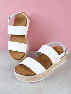 Double Band Sling Back Espadrille Trim Flatform Sandal WHITE