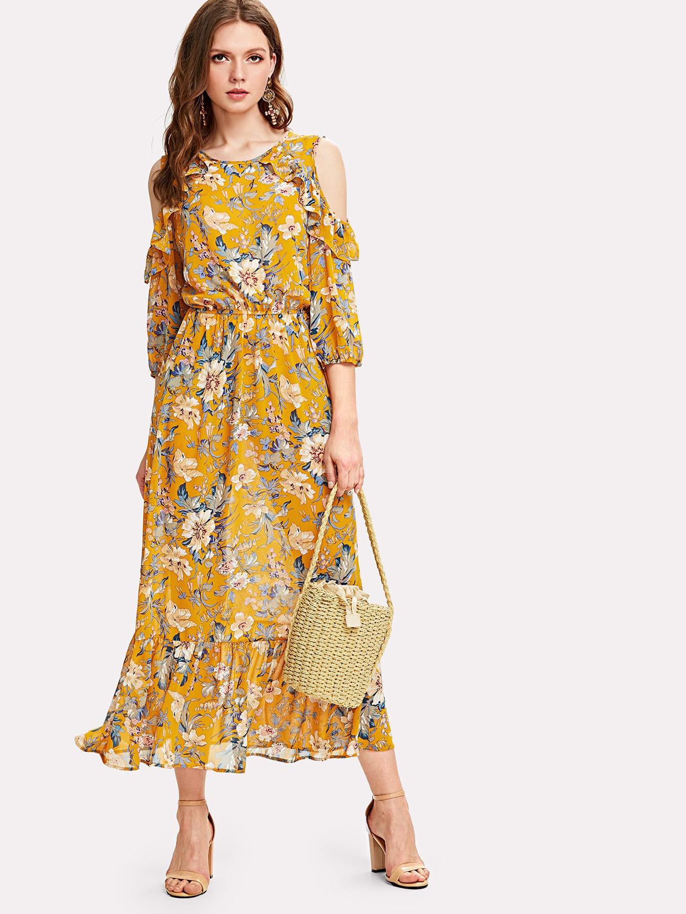Купить Цветочное платье с открытыми плечами и оборками на рукавах, Muffy, SheIn