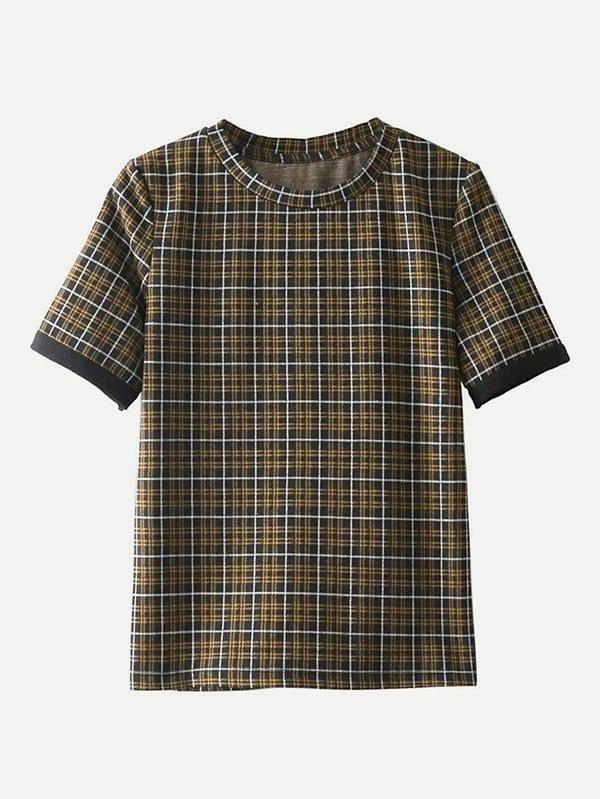 Tartan Plaid T-shirt pu belted tartan shirt