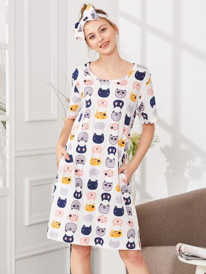 Cat Print Dress With Headband