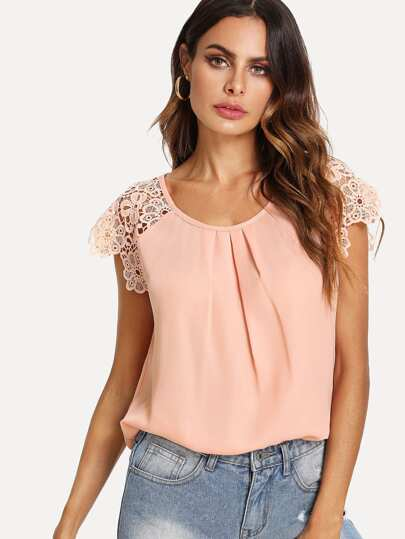 Floral Lace Raglan Sleeve Pleated Front Top