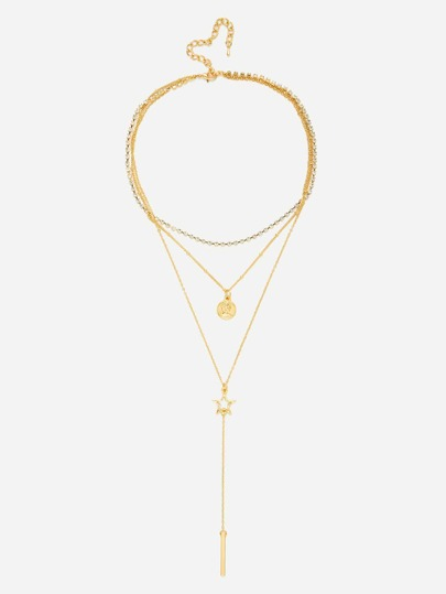 Bar & Star Pendant Chain Layered Necklace
