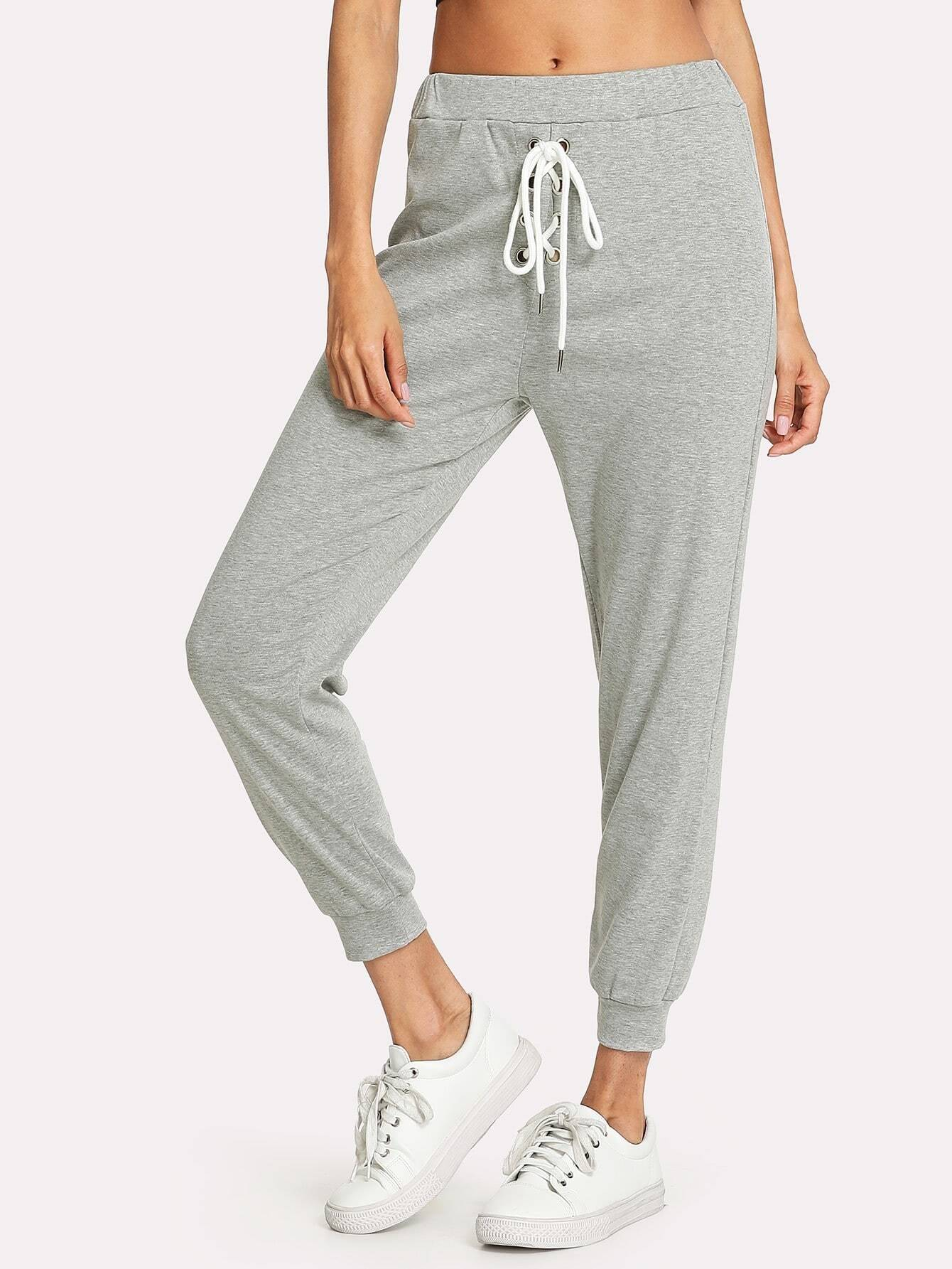 Lace Up Front Marled Knit Sweatpants lace up front fit