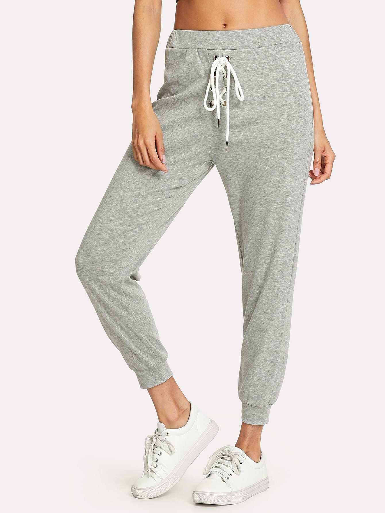 Lace Up Front Marled Knit Sweatpants