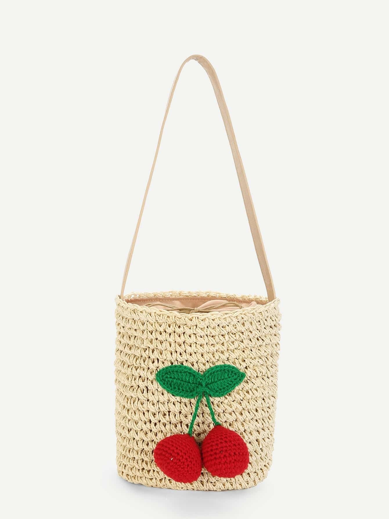Cherry Decorated Straw Bucket Bag flounce trim straw bucket bag