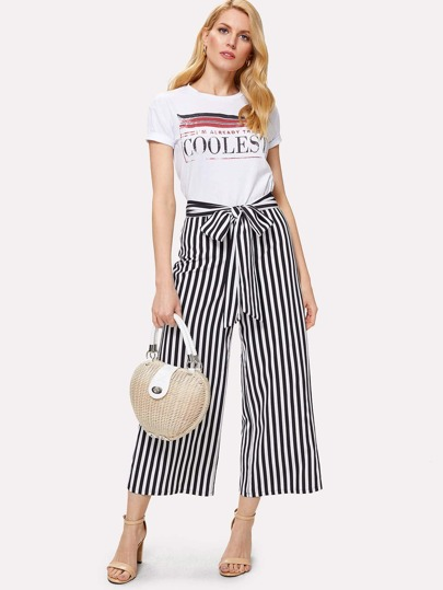 Self Belted Striped Wide Leg Pants