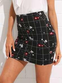 Flower And Grid Print Skirt