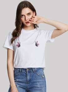 Butterfly Embroidered Appliques Tee