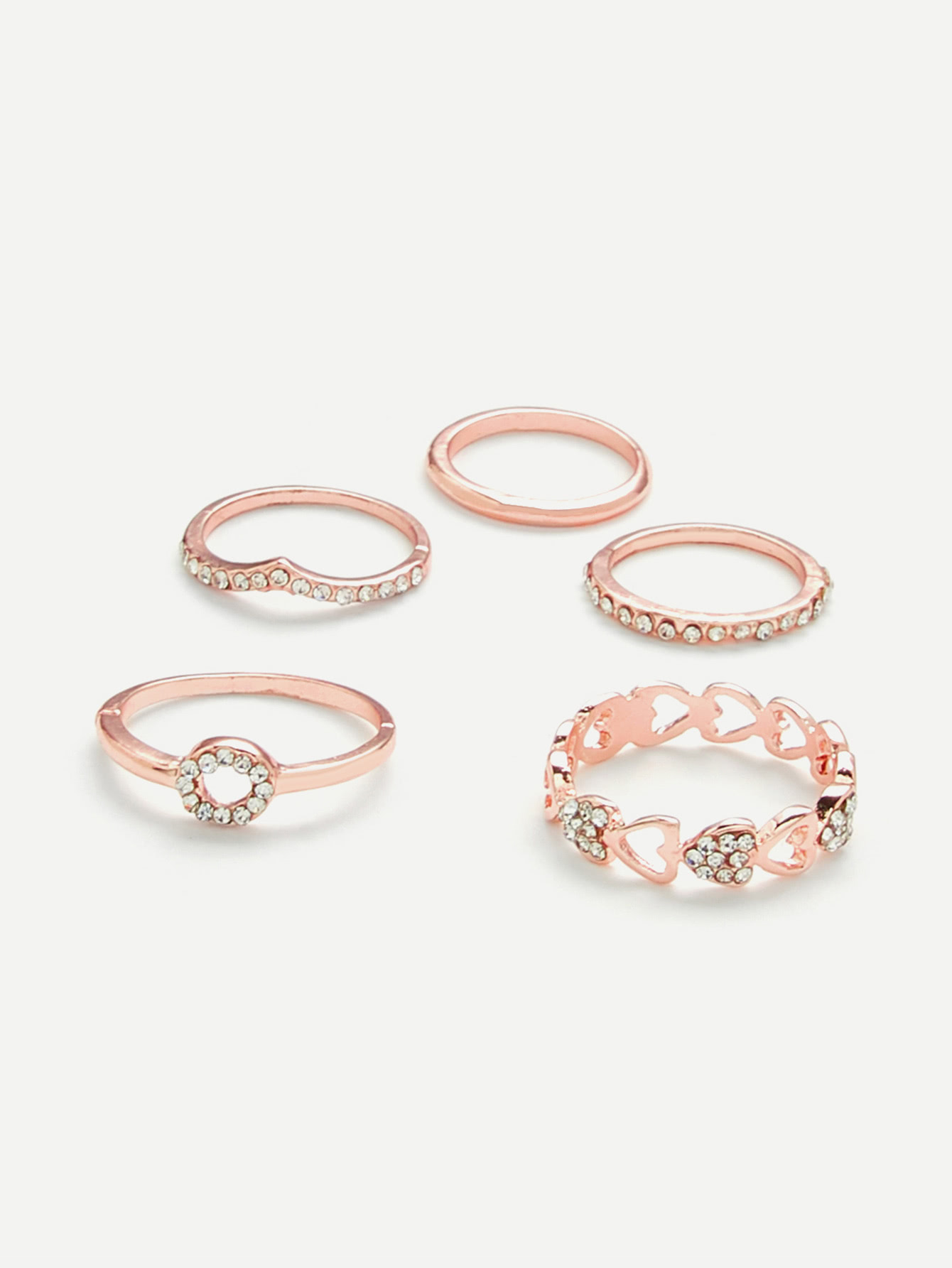 Heart Design Ring Set With Rhinestone open heart design ring