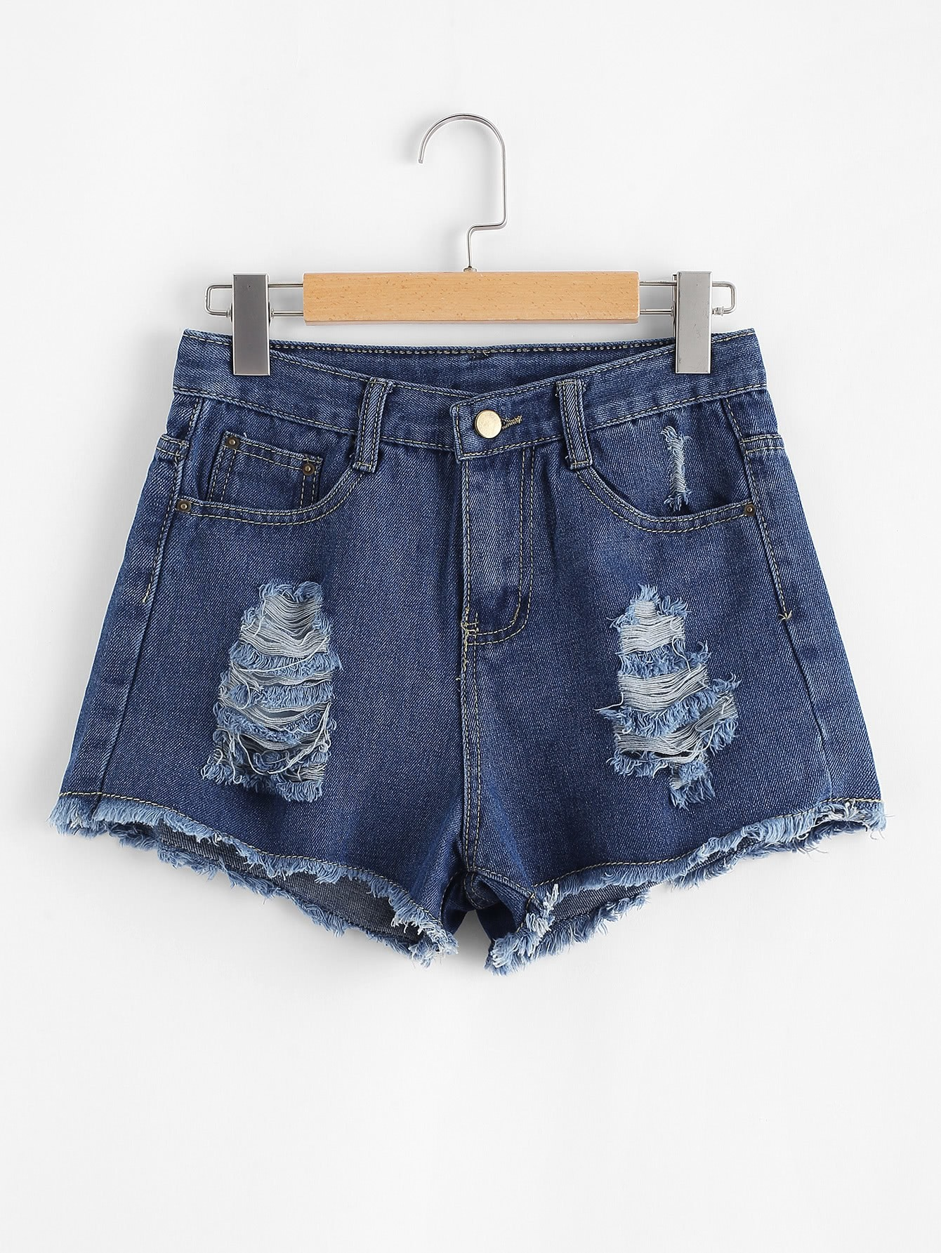 Raw Hem Ripeed Denim Shorts raw hem ripeed denim shorts