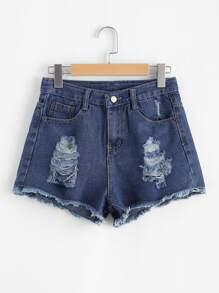 Raw Hem Ripeed Denim Shorts