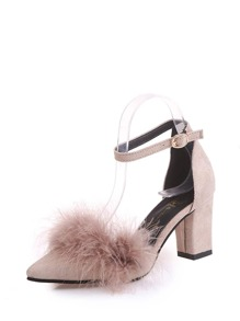 Faux Fur Decor Chunky Heels