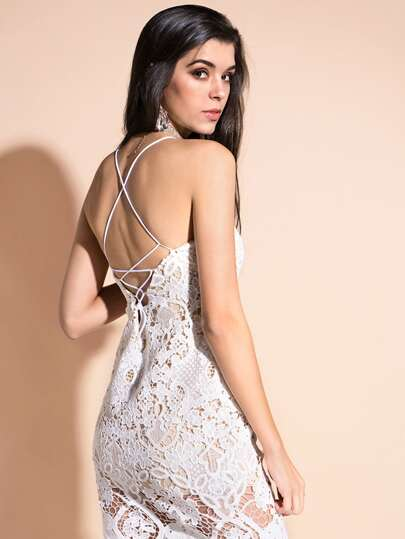 Lace Up Back Cami Dress
