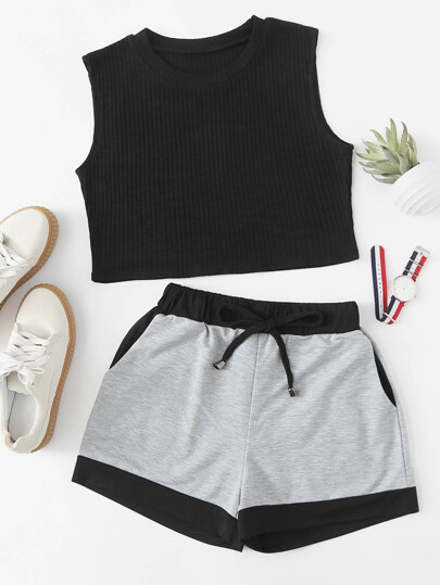 Crop Tank Top & Sweat Shorts Set