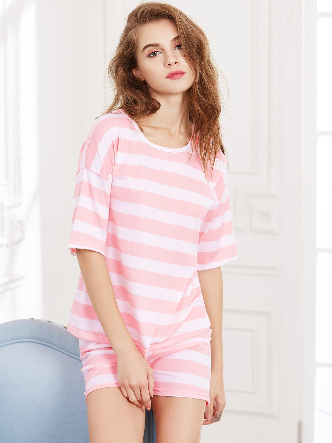 цена Contrast Striped Tee And Shorts Pajama Set
