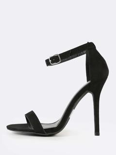 Faux Suede Ankle Strap Stiletto Heel BLACK