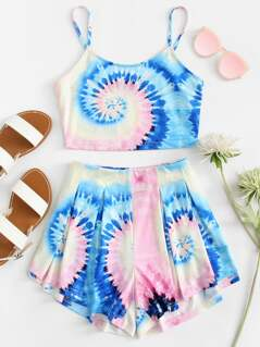 Tie Dye Crop Cami And Shorts Set