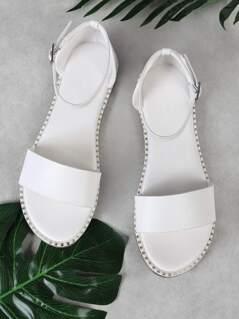 Single Band Ankle Strap Sandal with Metallic Bead Trim Detail WHITE