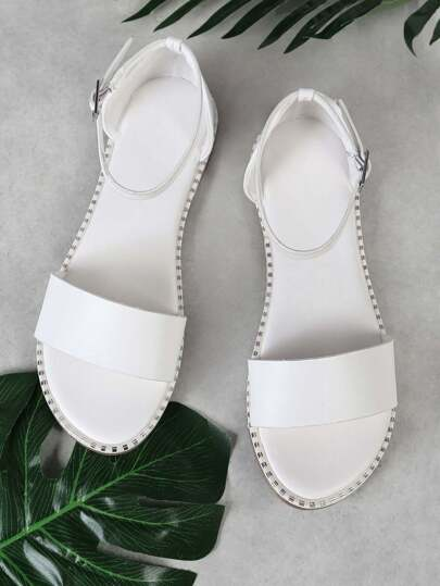 Single Band Ankle Strap Sandal with Metallic Bead Trim Detail WHITE