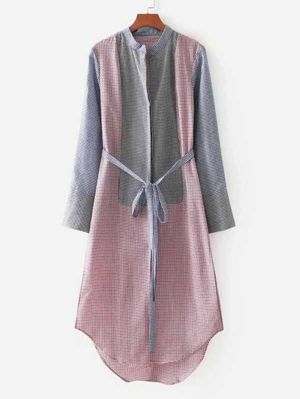 Contrast Gingham High Low Curved Hem Shirt Dress gathered sleeve curved dip hem gingham dress