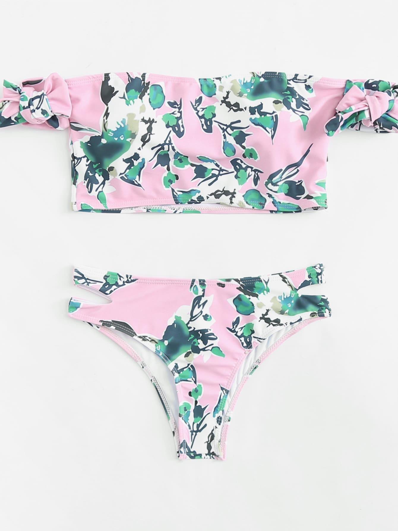 Фото Flower Print Cutout Bikini Set checker knot bikini set