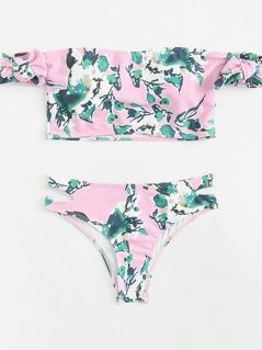 Flower Print Cutout Bikini Set