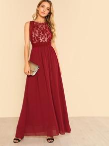 Mesh Panel Flowy Dress