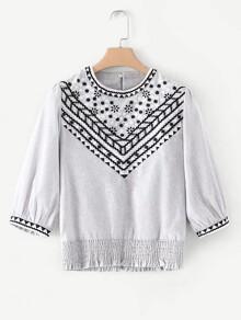 Embroidery Shirred Hem Blouse