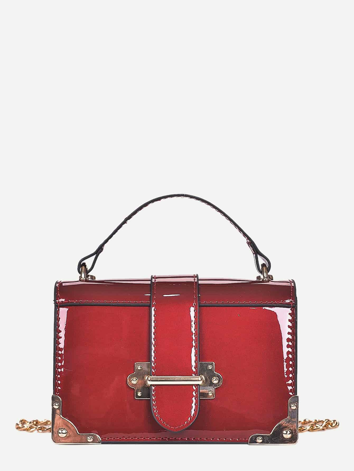 Patent Leather Buckle Decor Chain Bag