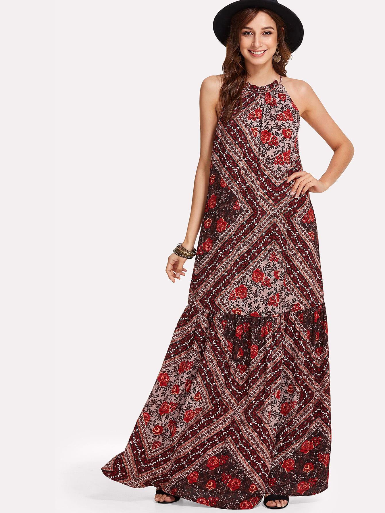 Patchwork Print Tiered Hem Halter Dress patchwork print tiered hem halter dress