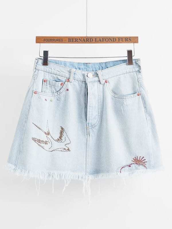 Raw Hem Embroidery Denim Skirt schwinn streamliner 2 womens 2015 white